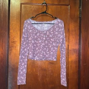 Mossimo Long Sleeve Purple Floral Crop Top